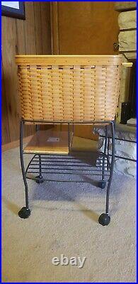 Longaberger Hostess File Basket Set And Wrought Iron Stand