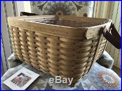 Longaberger Hostess Only Small Wash Day Basket Set With Protector Warm Brown