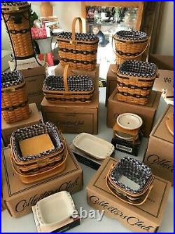 Longaberger J. W. Collector's Club Miniature Baskets Complete Set Plus Extras