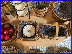 Longaberger Jw Mini Baskets Full Set 13 + Extra Wrought Iron & Umbrella Mint
