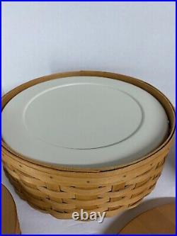 Longaberger Keeping Basket Set 13, 11, 9, 7, And 5 Accessories Warm Brown