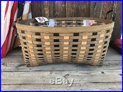 Longaberger Khaki Check Blanket Basket Set W Protector