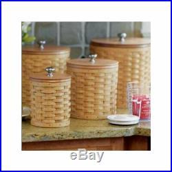 Longaberger Khaki Check CANISTER BASKET SET 4-Basket Liners. RARE Brand New