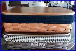 Longaberger LETTER / PAPER TRAY BASKET SET RICH BROWN Black Liner Orig $181
