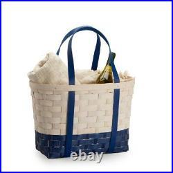 Longaberger Large Blue & White Boardwalk Basket Set With Free Protector New
