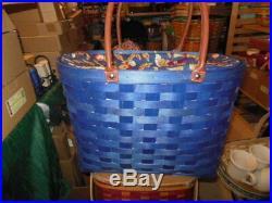 Longaberger Large Bold Blue Boardwalk Basket Set Protector Early Harvest Liner