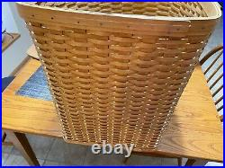 Longaberger Large Corner Laundry Hamper Basket Set Lid Liner & Protector! 2004