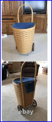 Longaberger Large Hostess Shopping Cart Basket-Liner-Protector Set Combo Retired