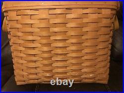 Longaberger Large Newspaper Basket Set, Protector & Woodscraft Lid 2002