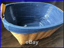 Longaberger Large Oval Laundry Basket Cornflower Blue Liner & Protector Set