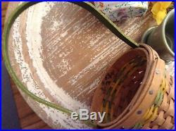 Longaberger May Series Miniature DAFFODIL Basket SetRAREMini Flower Pot