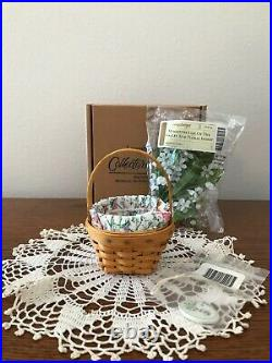 Longaberger Miniature Lily Of The Valley Basket Set May Series with Flowers No Box