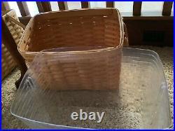 Longaberger NEWSPAPER Basket Combo Set- Wrought Iron Stand, 2 Plastic Protectors