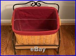Longaberger NEWSPAPER Basket Set Wrought Iron Stand Wood Shelf Liner Protector