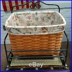 Longaberger Newspaper Basket Set Protector Liner Wrought Iron Rack 2001 COUNTRY