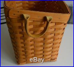 Longaberger, Newspaper Set, Rack, Basket, 2 Liners, Protective Liner & Divider