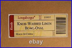 Longaberger Oval Washed Linen Bowl Basket Set and Protector & MATCHNG Lid withKnob