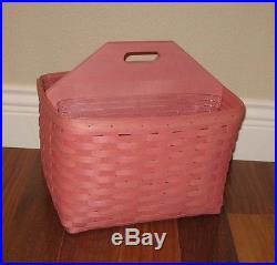 Longaberger PINK Tall HANDY HELPER Basket PLUS Set of 2 Protectors