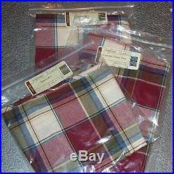 Longaberger Paprika Plaid BASKET BIN SET 3-Bin Liners Brand New in Bags