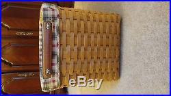 Longaberger Personal File Basket SUPER SET #10700- Plaid Liner and lid