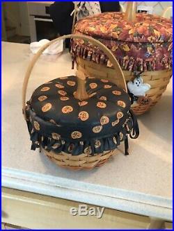 Longaberger Pumpkin Basket Combos with Fabric Lids Set of 4