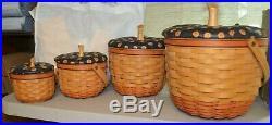 Longaberger Pumpkin Basket Set, Lids Halloween Fall Large Medium Small Little
