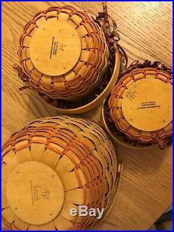 Longaberger Pumpkin Fall Basket Set 3- 1995 Large, 1996 Small, 1997 Little