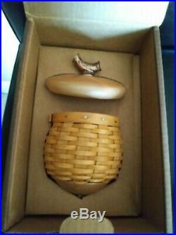 Longaberger RARE Coll Club Acorn Basket Set withoak leaf stand MINT FREE SHIPPING