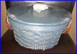 Longaberger RARE Denim Blue Fall Harvest Basket Set with lid MINT FREE SHIPPING