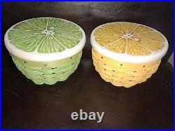 Longaberger RARE Lemon and Lime Basket sets with lids MINT FREE SHIPPING