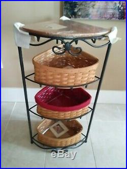 Longaberger RARE Mint Condition Large Corner Stand with 3 basket sets & shelf