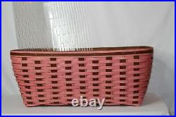 Longaberger RARE Pink & Rich Brown Small Laundry Basket WithProtector Set NWT
