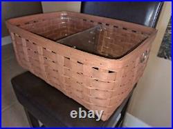 Longaberger RARE Rich Brown Large Rectangular Sort Store Set MINT FREE SHIPPING