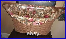 Longaberger RARE Rich Brown Stain Library Basket Complete set MINT FREE SHIPPING