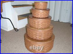 Longaberger, ROUND KEEPING BASKET SET, 5 Baskets, 13, 11, 9, 7 & 5, NEW