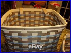Longaberger Rare Hanging Basket Set Of 3 With Rod Blue Beige Set