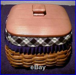 Longaberger Rare Retired Blue Ribbon Mending Basket Set + LID New- Last One