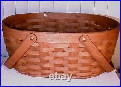 Longaberger Rare Retired Oval Market Basket & Protector Set-rich Brown New