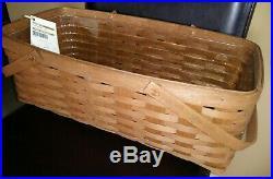 Longaberger Rare Rich Brown Stain Long Market basket Set MINT FREE SHIPPING