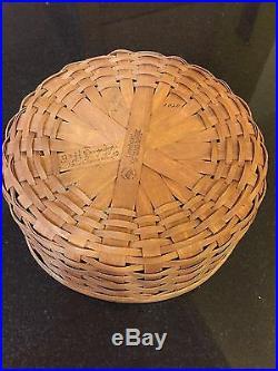 Longaberger Rich Brown 9 Round Keeping Basket Set New