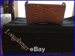 Longaberger Rich Brown Blanket Basket Set includes Protector