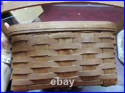 Longaberger Rich Brown Cake Basket Set with NEW Lid