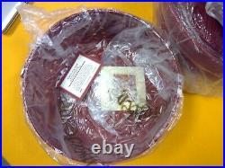 Longaberger Round Keeping Baskets Set Of 3 Red 5048122, 5048422, 5048522