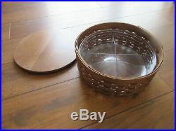Longaberger Round Keeping Baskets w lids Stackable Set 4 Baskets Lot Rare Find