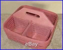 Longaberger SQUARE Handy Helper PINK Basket & Set of 4 Protectors 2014 10 Sq