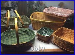 Longaberger Set Of 6 Basket Lot, Laundry, Berry, Traditions, Cake