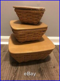 Longaberger Set Of Three Flare Baskets With Lids