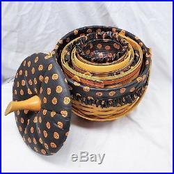 Longaberger Set of 4 Stacking Large Medium Small & Little Pumpkin Baskets Signed