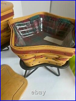 Longaberger Set of Three Sizes-2001 Christmas Star Baskets and stands