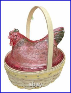 Longaberger Small Easter Basket Set Whitewashed with Pink Glass Hen Nest Chicken